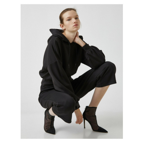 Koton Women's Black Hooded Sweatshirt