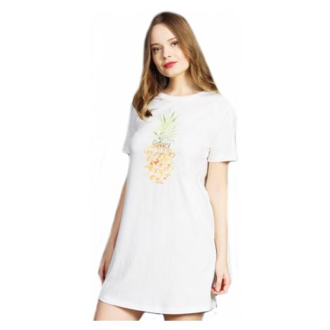 Dámská noční košile s krátkým rukávem Vienetta Secret Ananas | smetanová