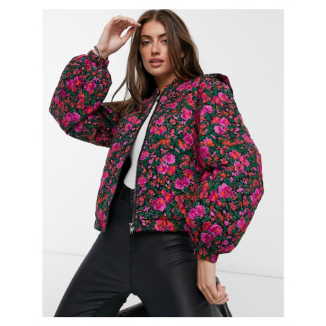 Y.A.S quilted bomber jacket in pink floral-Multi