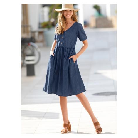 Blancheporte Džínové šaty s knoflíky modrá