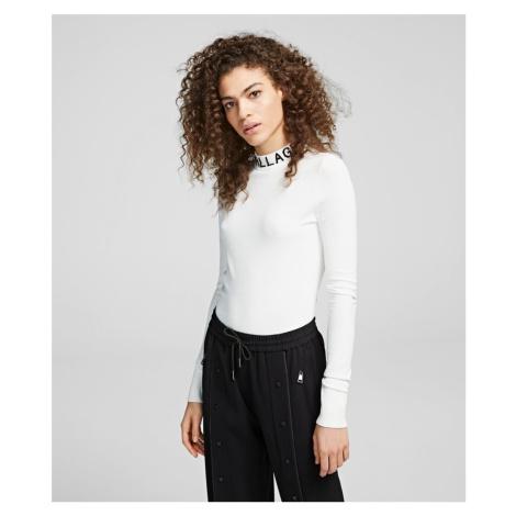 Svetr Karl Lagerfeld Logo Turtleneck Sweater - Bílá