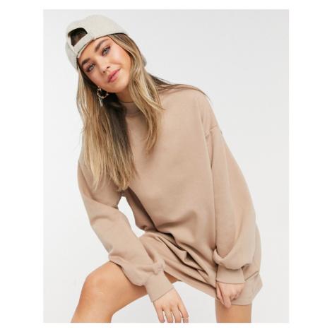 Bershka high neck sweat jumper dress in beige