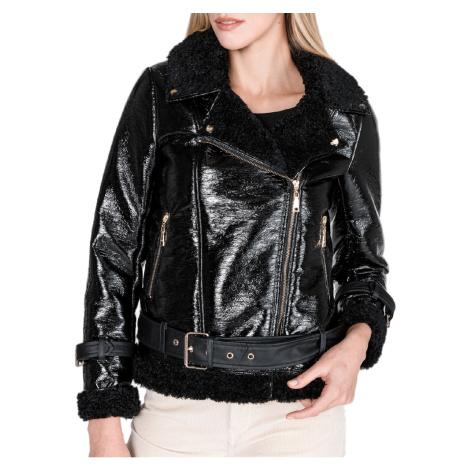 Zimní černá bunda TWINSET s kožíškem