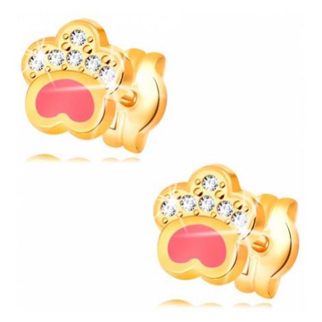 Náušnice ze žlutého 14K zlata, psí tlapka s růžovou glazurou a zirkony Šperky eshop