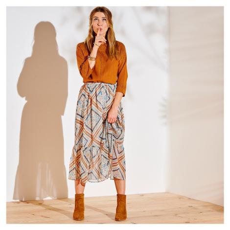 Blancheporte Dlouhá voálová sukně s potiskem režná/oranžová