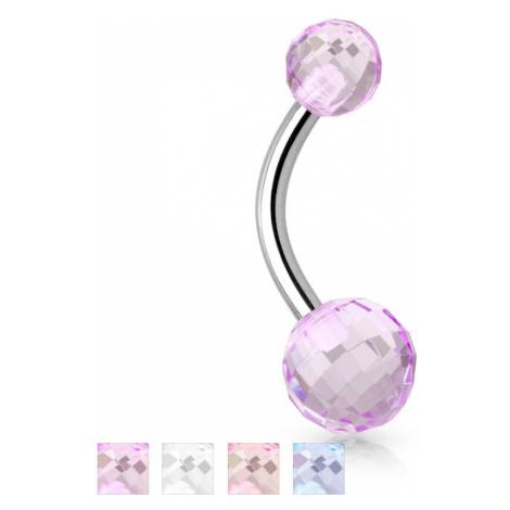 Piercing do pupíku, chirurgická ocel a akryl - Disco Ball - Barva piercing: Růžová Šperky eshop