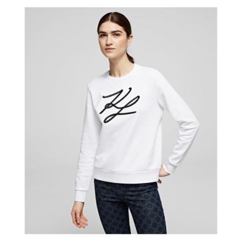 Mikina Karl Lagerfeld Kl Signature Sweatshirt - Bílá