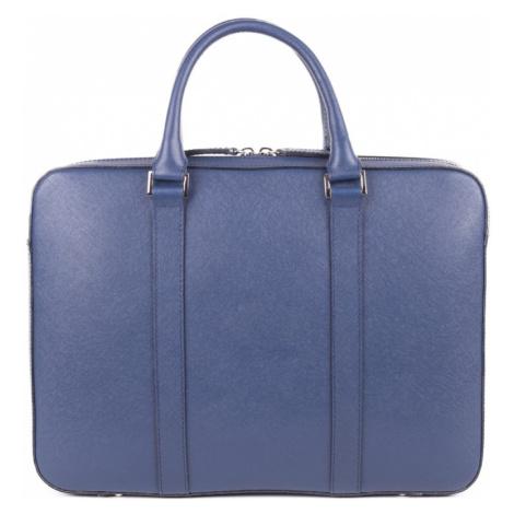 Kožená slim taška na notebook John & Paul - modrá