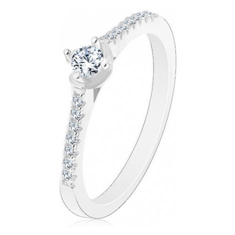 Stříbrný 925 prsten, třpytivá zirkonová ramena, kulatý čirý zirkon Šperky eshop