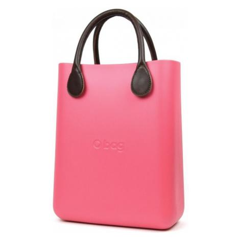 O bag růžové kabelka O Chic Amaranto s hnědými krátkými koženkovými držadly