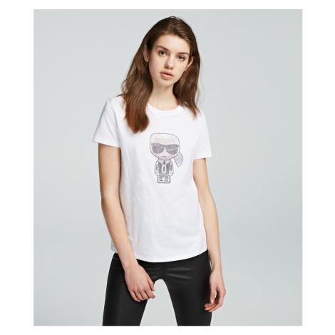 Tričko Karl Lagerfeld Ikonik Rhinestone Karl T-Shirt - Bílá