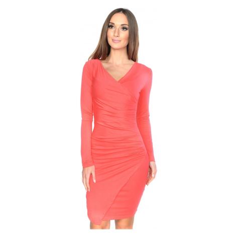 Řasené šaty s dlouhým rukávem a efektem sukně barva korálová