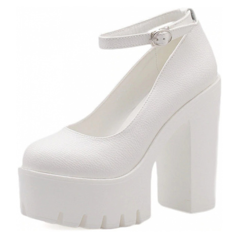 Dámské kožené černé lodičky bílé společenské boty na podpatku