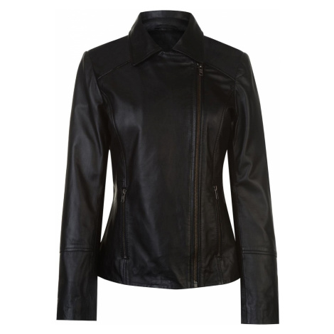 Firetrap Blackseal Embroidered Leather Jacket
