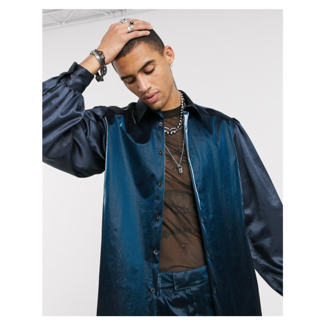 ASOS EDITION co-ord regular fit cut & sew satin & nylon shirt with balloon sleeves in navy