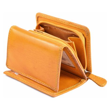 Dámská kožená peněženka na výšku se zipem na mince žlutá, 9 x 0 x 12 (SB00-V908-06KUZ)