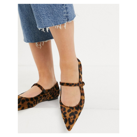 ASOS DESIGN Lacyie mary jane pointed velvet ballet flats in leopard-Brown
