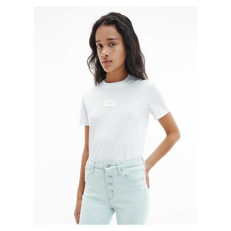 Calvin Klein Calvin Klein Jeans dámské bílé tričko SHINE BADGE TEE