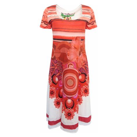 Desigual bílé šaty s červenými vzory a květy