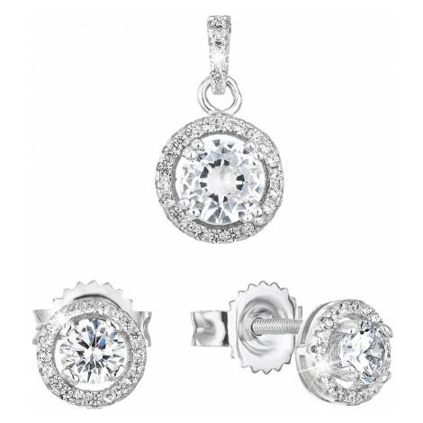 Sada šperků se zirkonem náušnice a přívěsek bílé kulaté 19026.1 Victum