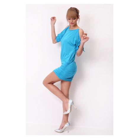 Krátké šaty s mašličkou a flitry na rukávech barva tyrkysová Oxyd