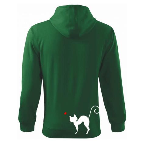Zamilovaná kočka prohnutá - Mikina s kapucí na zip trendy zipper