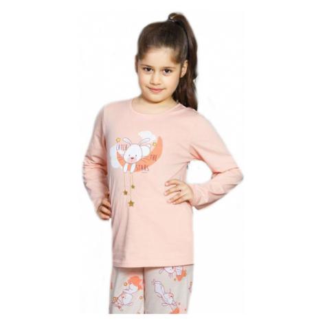 Dětské pyžamo dlouhé Vienetta Secret Králík velký | světle meruňková