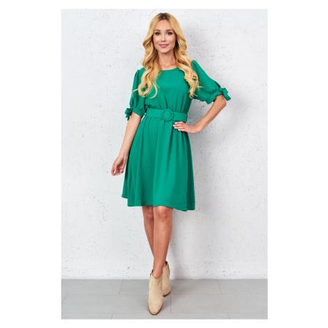 Dámské šaty s páskem 21107 zelené