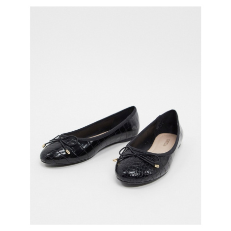 Carvela mollie ballet flats with bow in black croc-Beige
