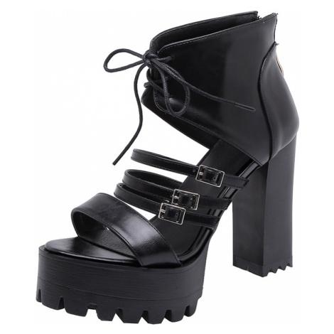 Dámské módní sandále společenské na podpatku s plnou patou