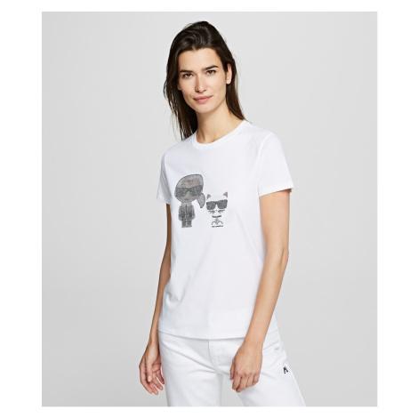 Tričko Karl Lagerfeld Ikonik Rhinestone T-Shirt - Bílá