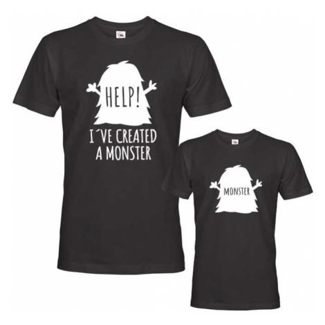 Trika pro otce a syna Monster - pomoc stvořil jsem monstrum - monstrum BezvaTriko