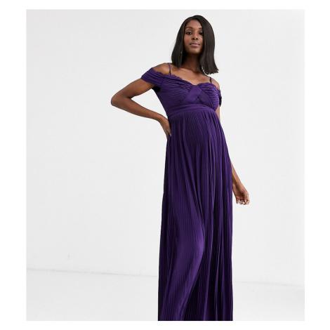 ASOS DESIGN Maternity lace and pleat bardot maxi dress-Purple
