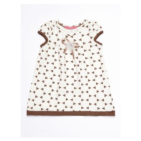 Dívčí ecru šaty se vzorem a mašlí FPrice