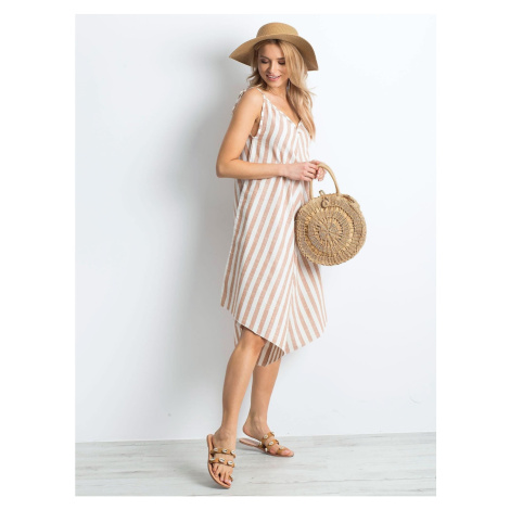 Brown and white striped jumpsuit