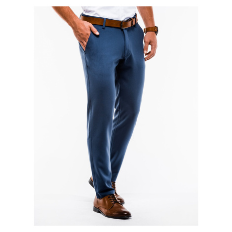 Pánské chinos kalhoty Winston modré Ombre Clothing