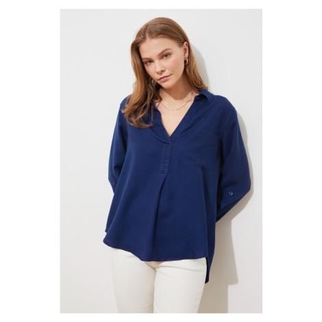 Trendyol Indigo Pocket Detailed Lyocell Denim Shirt