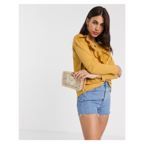 River Island broderie frill front long sleeved t-shirt in yellow