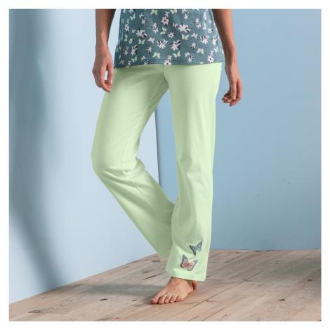 Blancheporte Pyžamové kalhoty se středovým motivem motýlů, bavlna anýzová