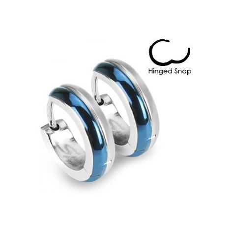 Kruhové ocelové náušnice - kombinace modré a stříbrné barvy Šperky eshop