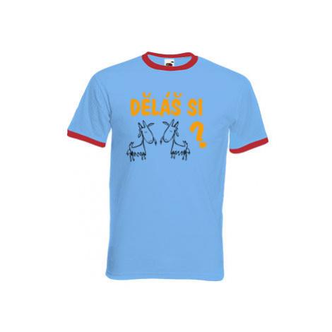 Pánské tričko s kontrastními lemy Děláš si kozy