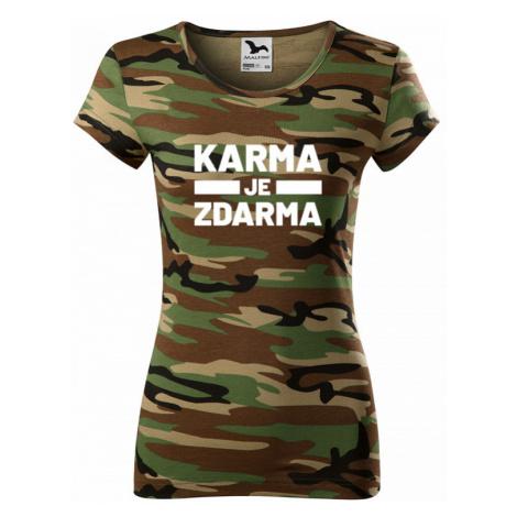 Dámské tričko s potiskem Karma je zdarma - tričko pro drzé holky BezvaTriko