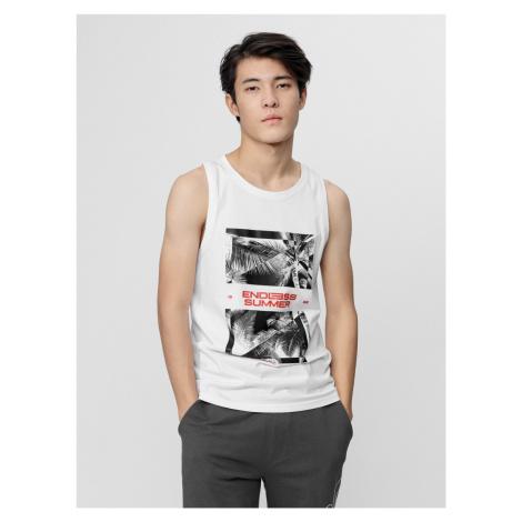 4F - Pánské tričko bez rukávů - bílý