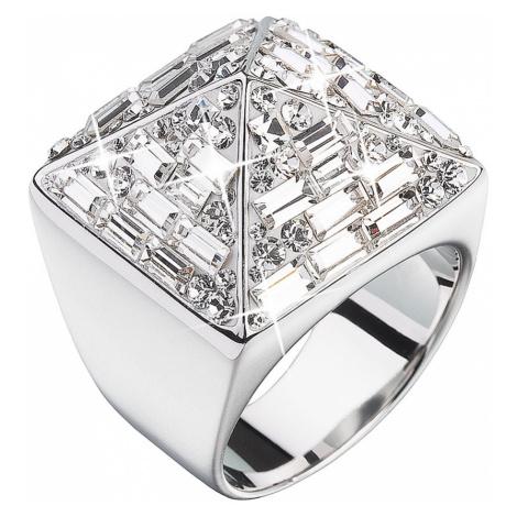 Stříbrný prsten s krystaly bílá pyramida 35810.1 Victum