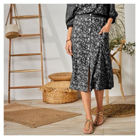 Blancheporte Dlouhá sukně s knoflíky a potiskem černá/bílá