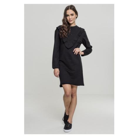 Ladies Terry Volant Dress - black Urban Classics