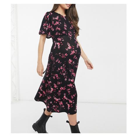 New Look Maternity tie back midi dress in floral print-Black