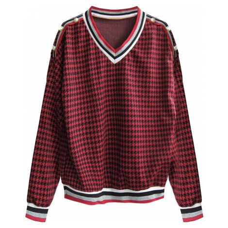 Bavlněná blůza/mikina s pepitovým vzorem v černo-červené barvě (463ART) Made in Italy