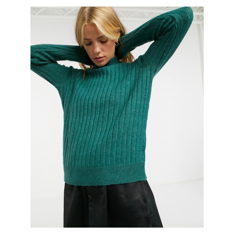 Y.A.S high neck jumper in textured knit-Green