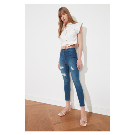 Trendyol High Waist Skinny Jeans WITH Blue Ripped DetailING